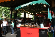 Overview of the food stalls Borough Market London